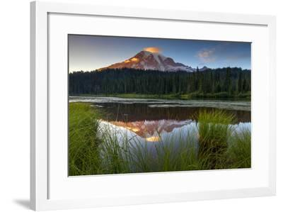 Mount Rainier NP, Washington: Sunset At Reflection Lakes With Mount Rainier In The Background-Ian Shive-Framed Photographic Print