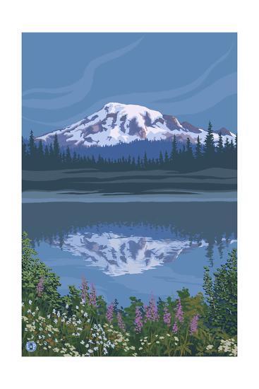 Mount Rainier - Reflection Lake - Image Only-Lantern Press-Art Print