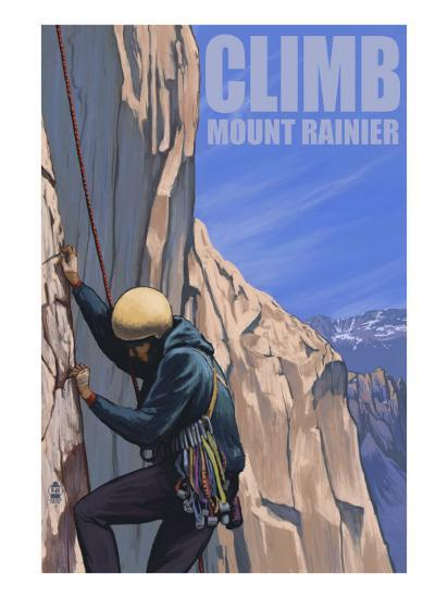 Mount Rainier, Washington, Rock Climber-Lantern Press-Art Print