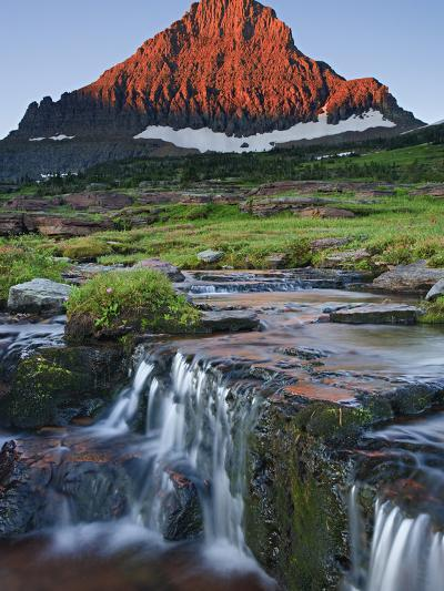 Mount Reynolds in Early Morning Light and a Seasonal Waterfall, Glacier National Park, Montana, USA-Geoffrey Schmid-Photographic Print
