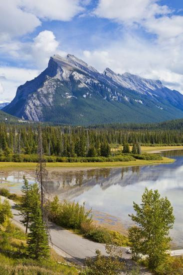 Mount Rundle Rising Above Vermillion Lakes Drive-Neale Clark-Photographic Print