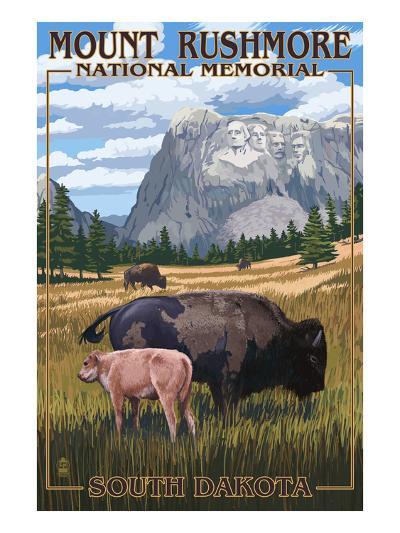 Mount Rushmore National Memorial, South Dakota - Bison Scene-Lantern Press-Art Print