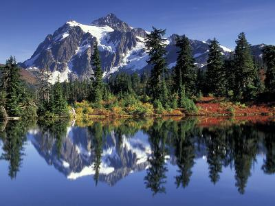 Mount Shuksan at Picture Lake, Heather Meadows, Washington, USA-Jamie & Judy Wild-Photographic Print