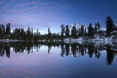 Mount Shuksan Is Reflected In A Lake In Late Autumn Near Mount Baker Ski Area-Jay Goodrich-Photographic Print