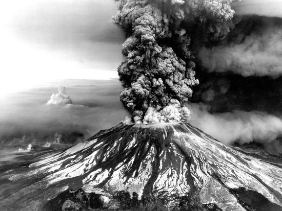 Mount St. Helens on the First Day of Eruption on May 18 1980--Photo