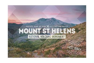 Mount St. Helens, Washington - Rubber Stamp-Lantern Press-Art Print