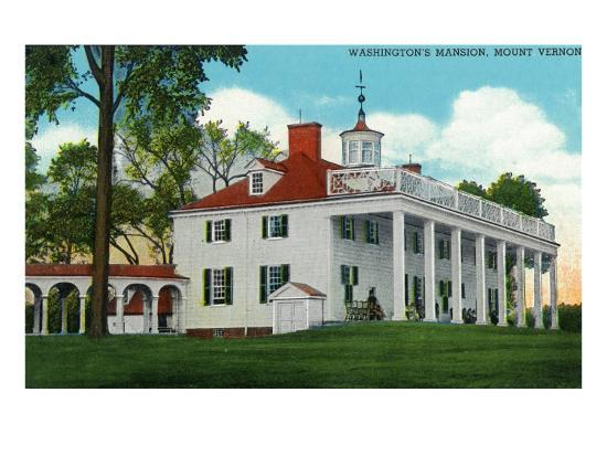 Mount Vernon, Virginia, Exterior View of the Washington Mansion from the Back Grounds-Lantern Press-Art Print