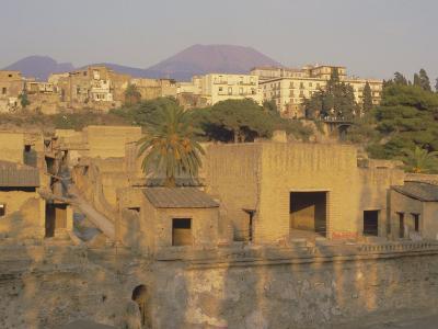 Mount Vesuvius Behind the Ruins of the Roman Resort of Herculaneum, Campania, Italy-Robert Francis-Photographic Print