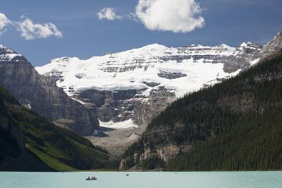 Mount Victoria and Lake Louise with Canoes-Design Pics Inc-Photographic Print