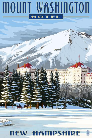 Mount Washington Hotel in Winter - Bretton Woods, New Hampshire-Lantern Press-Art Print