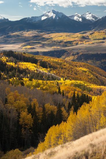 Mount Wilson In The Snow Capped San Juan Mountains Flanked By Fall Colored Aspen Forests-Greg Winston-Photographic Print