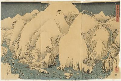 Mountain and River at Kiso Pass, August 1857-Utagawa Hiroshige-Giclee Print