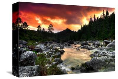 Mountain and River at Sunset--Stretched Canvas Print