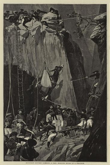 Mountain Battery Climbing a Pass, Hoisting Mules Up a Precipice--Giclee Print