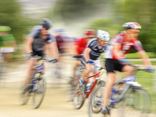 Mountain Bike Race, Bannockburn, near Cromwell, Central Otago, South Island, New Zealand-David Wall-Photographic Print