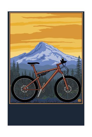 Mountain Bike Scene-Lantern Press-Art Print