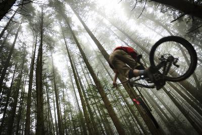 Mountain Biker Catches Air In The Mist Of The Northwest Rainforest Near Bellingham, WA-Jay Goodrich-Photographic Print