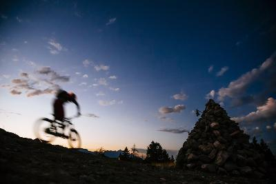 Mountain Biker Rides Into The Darkness After Sunset In The Tetons-Jay Goodrich-Photographic Print