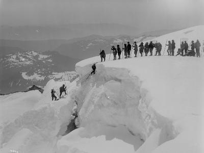 Mountain Climbers Ascending Mount Baker, 1908-Asahel Curtis-Giclee Print