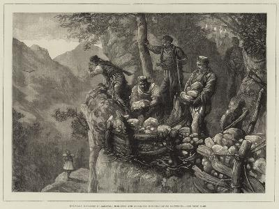Mountain Defences in Albania, Miridites and Albanians Building Stone Batteries--Giclee Print