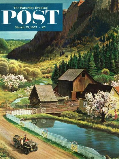 """Mountain Farm"" Saturday Evening Post Cover, March 23, 1957-John Clymer-Giclee Print"