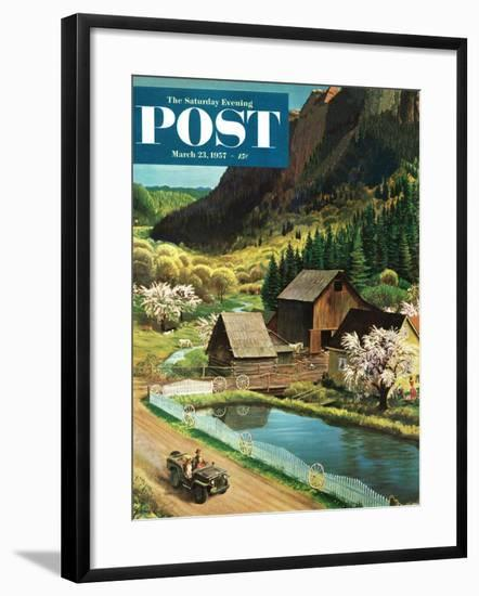 """""""Mountain Farm"""" Saturday Evening Post Cover, March 23, 1957-John Clymer-Framed Giclee Print"""