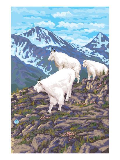 Mountain Goat Family-Lantern Press-Art Print