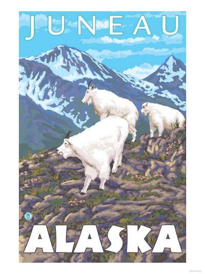 Mountain Goats Scene, Juneau, Alaska-Lantern Press-Art Print