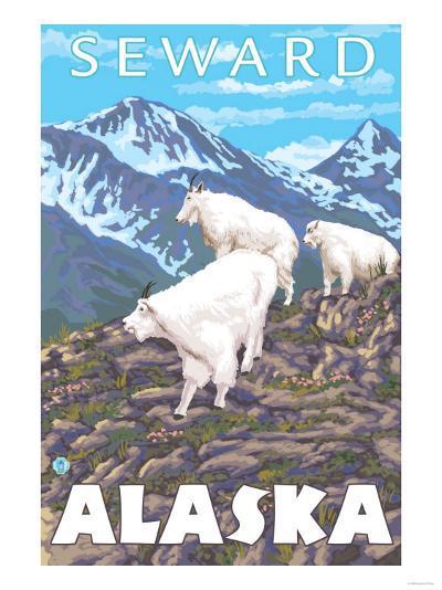 Mountain Goats Scene, Seward, Alaska-Lantern Press-Art Print