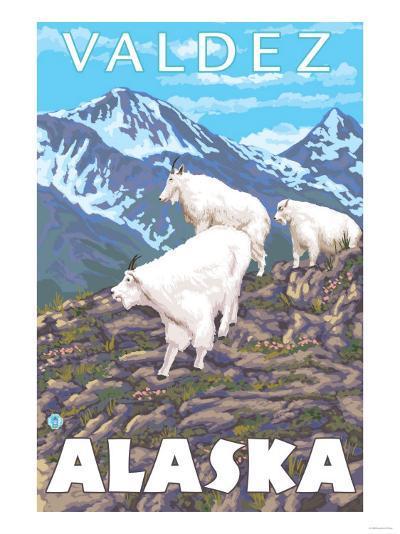 Mountain Goats Scene, Valdez, Alaska-Lantern Press-Art Print