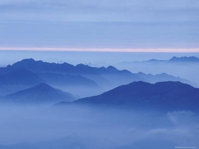 Mountain in Mist at Sunrise, Mt. Huangshan (Yellow Mountain), China-Keren Su-Photographic Print