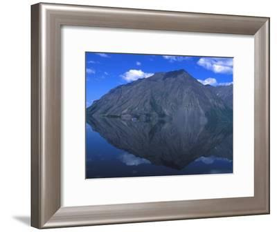 Mountain Is Reflected in a Still Lake, Kathleen Lake, Yukon Territory, Canada-Nick Norman-Framed Photographic Print