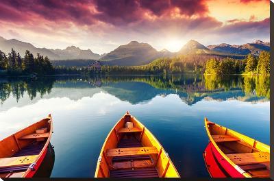Mountain Lake In National Park High Tatra-Leonid Tit-Canvas Art Set