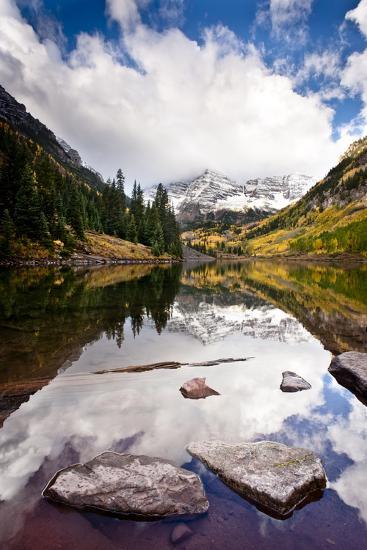 Mountain Lake Reflection with Fall Color's. Aspen, Colorado.-Dan Ballard-Photographic Print