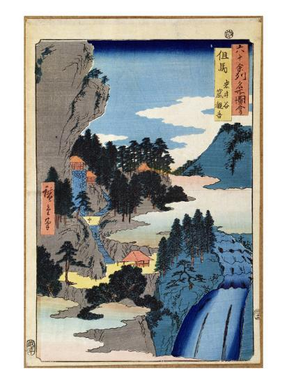 Mountain Landscape, from the Series 'Views of the 60-Odd Provinces', pub. by Kosheihei, 1853-Ando Hiroshige-Giclee Print
