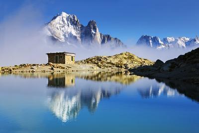 Mountain Landscape, Lac Blanc, Aiguille Vert and Les Drus with Clouds Rising, Haute Savoie, France-Frank Krahmer-Photographic Print