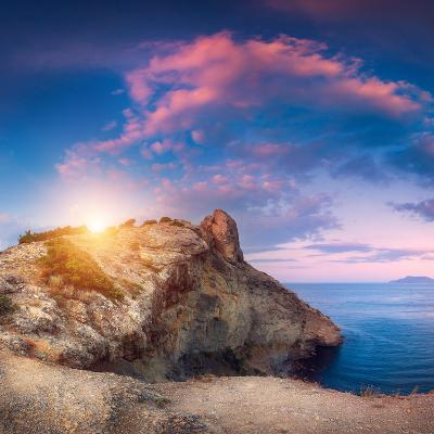Mountain Landscape with Colorful Blue Sky with Purple Clouds, Sun and Sea at Sunset in Crimea-Denys Bilytskyi-Photographic Print