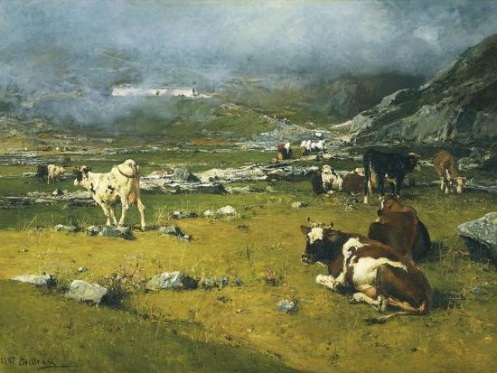Mountain Landscape with Cows Grazing in Upper Area of Biella-Lorenzo Di Bicci-Giclee Print