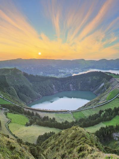 Mountain Landscape with Hiking Trail and View of Beautiful Lakes, Ponta Delgada, Portugal-Hanna Slavinska-Photographic Print
