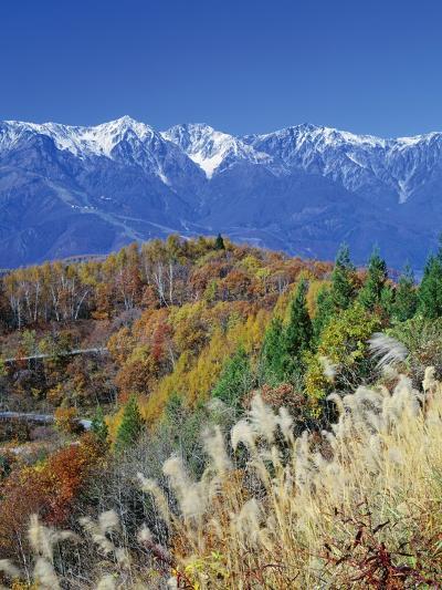Mountain range and autumn foliage, Hakuma Miyama, Nagano Prefecture, Japan--Photographic Print