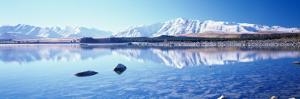 Mountain Range at the Lakeside, Two Thumb Range, Lake Tekapo, Mackenzie Basin, South Island