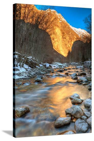 Mountain River in the Alps--Stretched Canvas Print