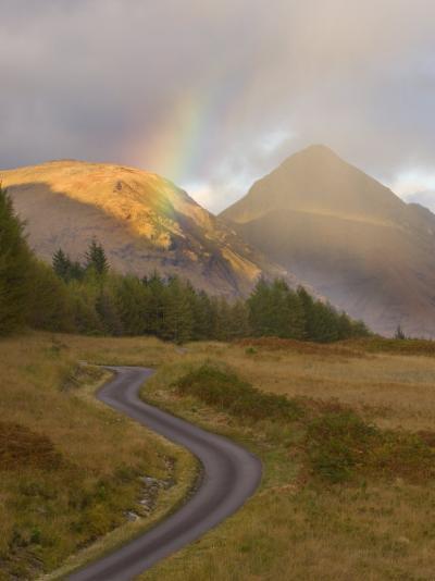 Mountain Road with Rainbow in Glen Etive, Argyll, Scotland, UK, October 2007-Niall Benvie-Photographic Print