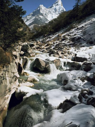 Mountain Stream and Peaks Beyond, Himalayas, Nepal-David Beatty-Photographic Print