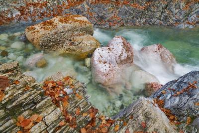 Mountain Stream and Rocks with Autumn Leaves, Garnitzenklamm, Hermagor, Carinthia, Austria-Frank Krahmer-Photographic Print