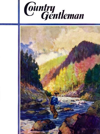 """""""Mountain Stream Fishing,"""" Country Gentleman Cover, May 1, 1938-Q. Marks-Giclee Print"""