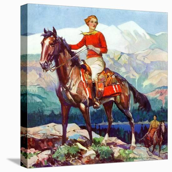 """Mountain Trail Ride,""April 1, 1936-Frank Schoonover-Stretched Canvas Print"
