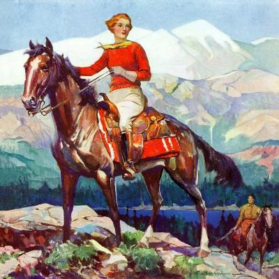 """Mountain Trail Ride,""April 1, 1936-Frank Schoonover-Giclee Print"
