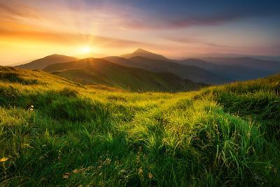 Mountain Valley during Sunrise. Natural Summer Landscape- biletskiy-Photographic Print
