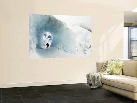 Mountaineer in Ice Cave on Marconi Glacier-Grant Dixon-Wall Mural